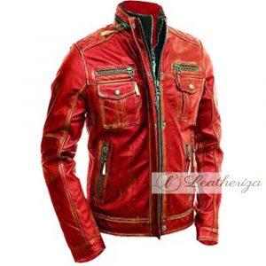 mens-red-biker-distressed-vintage-leather-jacket