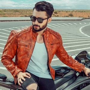 Men's Brown Designer Biker Leather Jacket