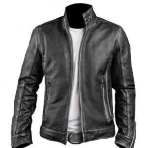 Men's Biker Black Leather Jacket with Embossed Skull and Bones Style