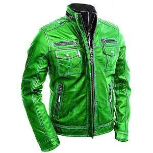 Green Vintage Biker Leather Jacket