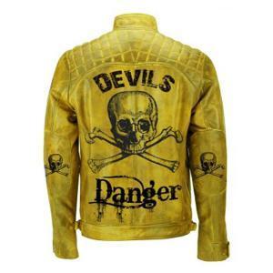 Men's Yellow Devil's Skull Danger Biker Vintage Leather Jacket