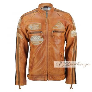 Classic Russet Brown Leather Jacket For Men