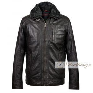 Voguish Shearling Black Leather Jacket For Men