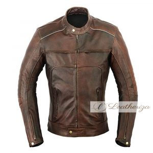 Vintage Classic Hickory Brown Leather Jacket For Men