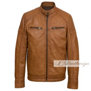 Tawny Brown Leather Jacket For Men