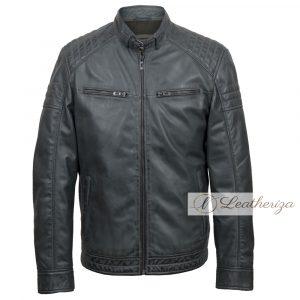 Trendy Charcoal Black Leather Jacket For Men