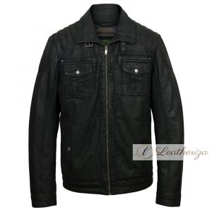 Classic Onyx Black Leather Jacket For Men