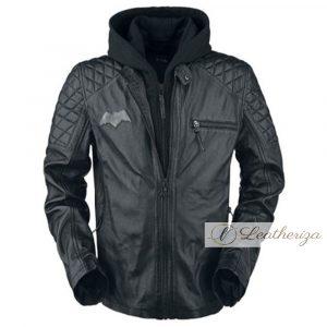 Bat Man Shearling Black Leather Jacket For Men