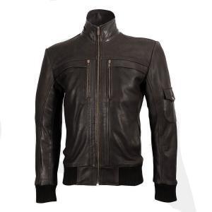 Men's High-Neck Brown Leather Jacket
