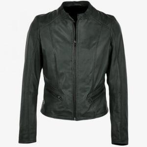 Women's Deep Green Serpent Leather Jacket