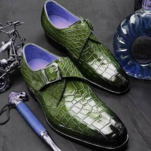 Handmade Men's Green Monk Strap Croc Design Real Leather Shoes