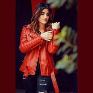 Women Red Elegant Biker Leather Jacket