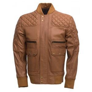 Men's Walnut Brown Bomber Leather Jacket
