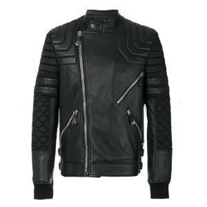 Men's Side Zipped Black Leather Jacket