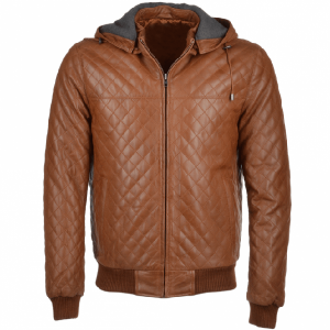 Men's Brown Simple Hooded Leather Jacket