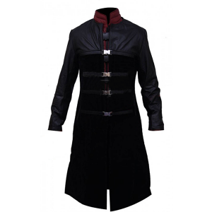 Mystery- Men's Black and Maroon Leather Coat