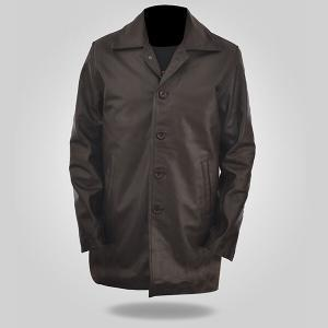 Detective Men's Brown Leather Coat
