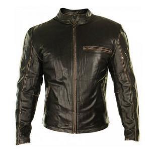 Biker Stripes Mud Brown Leather Jacket for Men