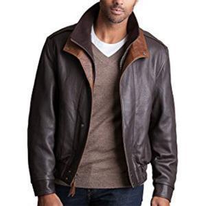 Brown-Black Men's Leather Jacket