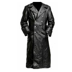 Dark – Long Black Leather Trench Coat