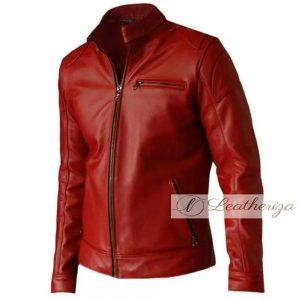 Men Red Elegant Biker Leather Jacket