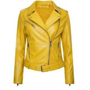 Stylish Yellow Biker Women's Leather Jacket