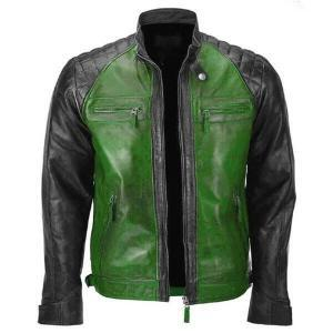 Black & Green Men Biker Leather Jacket