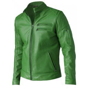 Kelly Green Men Leather Jacket