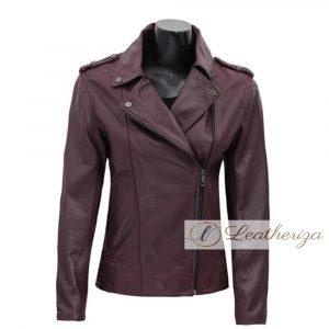 Claret Burgundy Women's Racer Leather Jacket