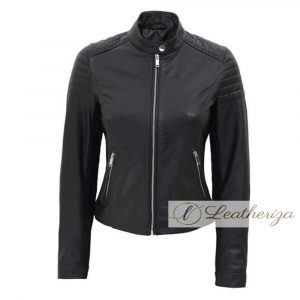 Over the Edge Black Leather Jacket For Women