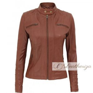 Umber Brown Women's Real Leather Jacket