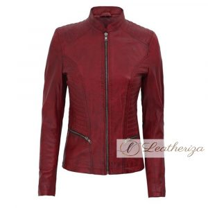 Simple Modern Red Leather Jacket For Women