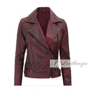 Dark Red Vintage Classis Coat Style Women's Leather Jacket