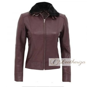 Antique Ruby Burgundy Shearling Women's Leather Jacket