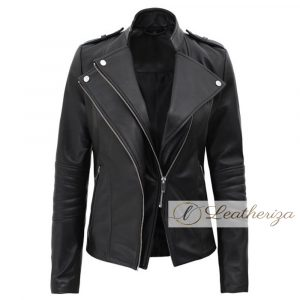 Cafe Racer Girl Black Leather Jacket For Women