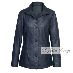 Elegant Navy Blue Women's Leather Coat