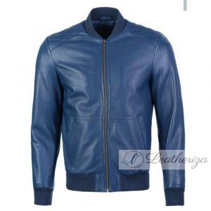 Sapphire Blue Elegant Bomber Leather Jacket For Men