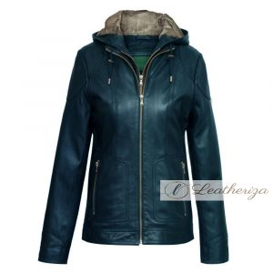 Dark Blue Shearling Real Leather Coat For Women