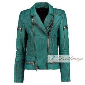 Snake Print Sea Green Women's Leather Jacket
