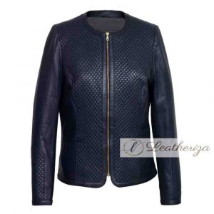 Navy Blue Women's Bomber Leather Jacket
