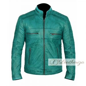 Blue Vintage Biker's Leather Jacket