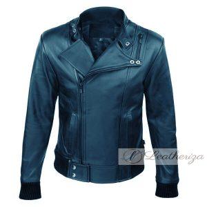 Dark Blue Elegant Stylish Biker Bomber Leather Jacket For Men