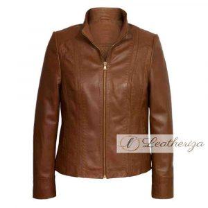 Elegant Biker Brown Leather Jacket For Women