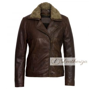 Stylish Shearling Brown Leather Jacket For Women