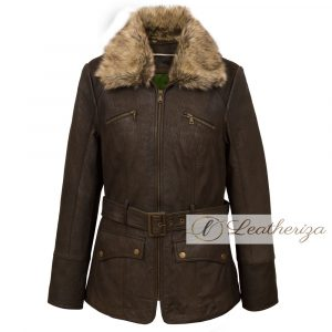 Voguish Brown Shearling Leather Coat For Women