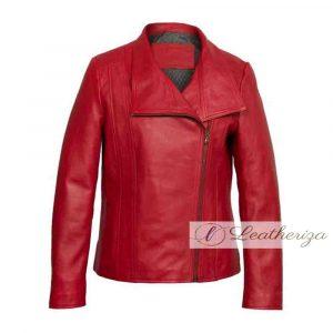 Stylish Women's Red Leather Jacket