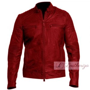 Classical Red Men's Vintage Style Leather Jacket