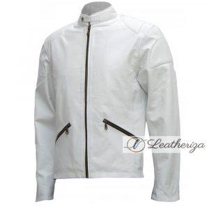 White Simple & Elegant Leather Jacket For Men