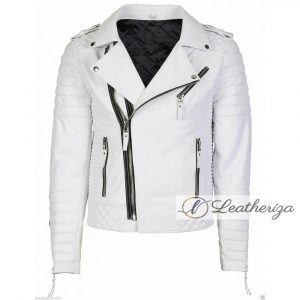 White Motorcycle Racer Biker Leather Jacket For Men