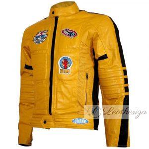 Café Racer Yellow Men's Biker Leather Jacket